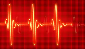 Cardiogram. Bright cardiogram waves on the red Royalty Free Stock Images