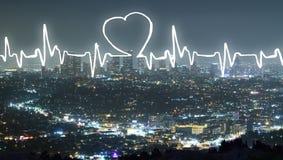 Cardiogram on city background Stock Image
