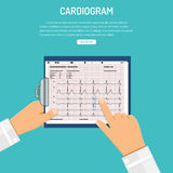 Cardiogram on clipboard in hands of doctor Stock Photography
