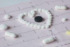 Cardiogram con le droghe dei moduli differenti Fotografie Stock