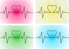 Cardiogram del cuore con cuore su esso Fotografia Stock Libera da Diritti