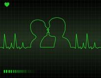 Cardiogram del cuore degli amanti Fotografia Stock Libera da Diritti