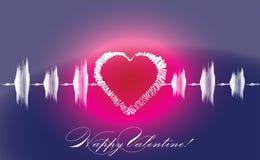 Cardiogram del cuore degli amanti del biglietto di S. Valentino Fotografia Stock Libera da Diritti