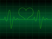Cardiogram do coração com coração nele Fotos de Stock