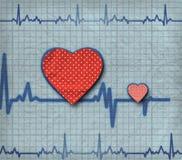 Cardiogram do coração com dois corações nele ilustração stock
