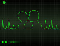 Cardiogram do coração dos amantes Fotografia de Stock Royalty Free