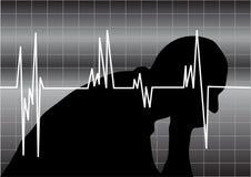 Cardiogram do homem e do coração Fotos de Stock