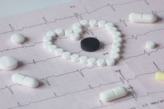 Cardiogram with drugs of different forms. A different perspective in promoting the combination of medical investigation and treatment Stock Photos