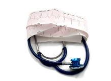 Cardiogram e stetoscopio fotografia stock libera da diritti