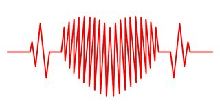 Cardiogram in the form of a red heart Royalty Free Stock Photos