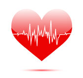 Cardiogram on heart Stock Photography