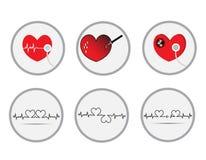 Cardiogram. Heart beats cardiogram vector icon Stock Photos