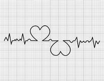 Cardiogram. Heart beats cardiogram on white background Stock Photo