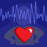 Cardiogram and Heart Graphic Stock Image