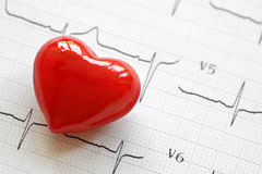 Cardiogram and heart Stock Photos