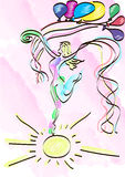 abstract girl dancing on sun  Royalty Free Stock Image