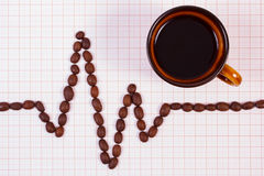 Cardiogram line of coffee grains and cup of coffee, medicine and healthcare concept Stock Image