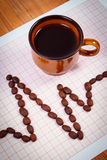 Cardiogram line of coffee grains and cup of coffee, medicine and healthcare concept Royalty Free Stock Photo