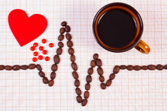 Cardiogram line of coffee grains, cup of coffee and supplement pills, medicine and healthcare concept Stock Image