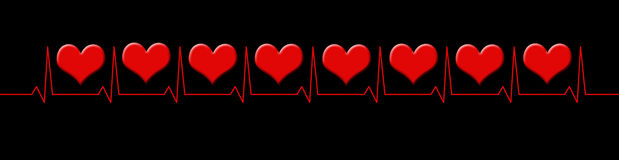 Cardiogram line with hearts Stock Photos