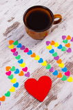 Cardiogram line of paper hearts and cup of coffee, medicine and healthcare concept Royalty Free Stock Photos