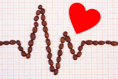 Cardiogram line of roasted coffee grains and red heart, medicine and healthcare concept Stock Photos