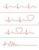 Cardiogram lines set. Set of various cardiogram design elements. Cardiogram lines of healthy heart and heart stop Stock Photo