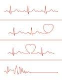 Cardiogram lines set Stock Photo