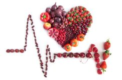 Cardiogram made from food. Cardiogram icon with heartshape made from food Stock Photo