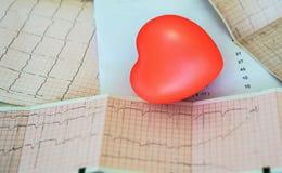 Cardiogram met klein rood hart op de lijstachtergrond royalty-vrije stock afbeelding