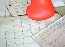 Cardiogram met klein rood hart op de lijstachtergrond stock foto