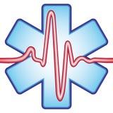 Cardiogram op kruis Stock Foto's