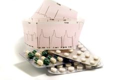 Cardiogram and pills Royalty Free Stock Photos