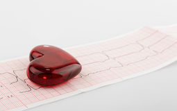 Cardiogram pulse trace and heart concept for cardiovascular medical exam Stock Photos