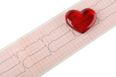Cardiogram pulse trace and heart concept for cardiovascular medical exam Stock Photo