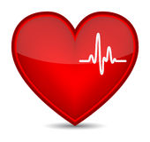 Cardiogram on red heart shape Royalty Free Stock Photos