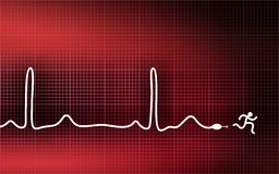Cardiogram - running man. Cardiogram-snake. Run away from heart attack Stock Images