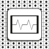 Cardiogram on the screen. Vector illustration.  Black and white image on a black and white background. Royalty Free Stock Photography
