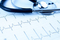 Cardiogram with stethoscope Stock Images