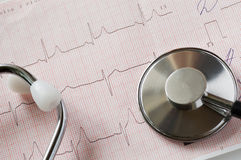 Cardiogram and stethoscope Stock Image