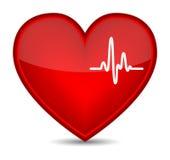 Cardiogram su figura rossa del cuore illustrazione di stock