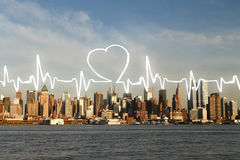 Cardiogram on waterfront city background Royalty Free Stock Photos