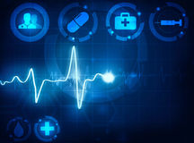Cardiogram wave medical background Stock Photo