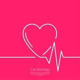 Cardiograma con el corazón Imágenes de archivo libres de regalías