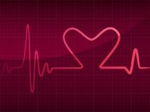 Cardiograma con el corazón Foto de archivo libre de regalías