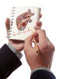 Cardiograma de los golpes de corazón del gráfico del doctor fotografía de archivo libre de regalías