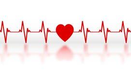 Cardiograma de um coração simbólico vermelho com uma reflexão de espelho ilustração stock