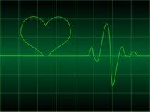 Cardiograma del corazón con el corazón en él Imágenes de archivo libres de regalías