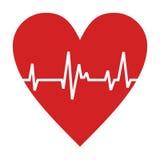 Cardiograma em um coração, projeto do vetor Fotografia de Stock