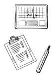 Cardiograma, historial médico, bosquejos del termómetro Foto de archivo